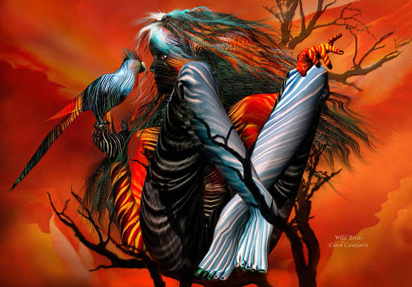 Fantasy Art Print featuring the mixed media Wild Birds by Carol Cavalaris
