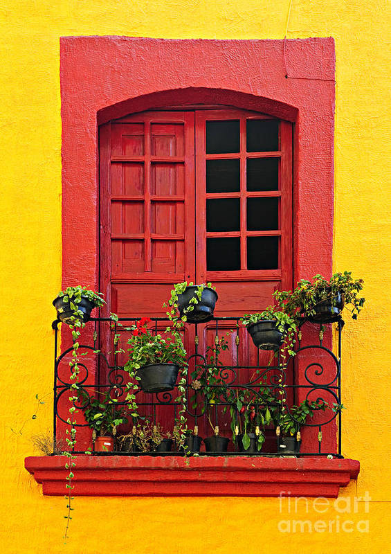 Window Print featuring the photograph Window On Mexican House by Elena Elisseeva