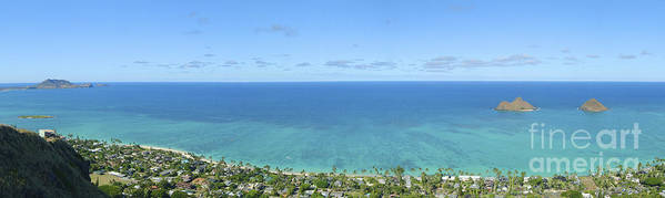 Blue Print featuring the photograph Windward Oahu Panorama II by David Cornwell/First Light Pictures, Inc - Printscapes