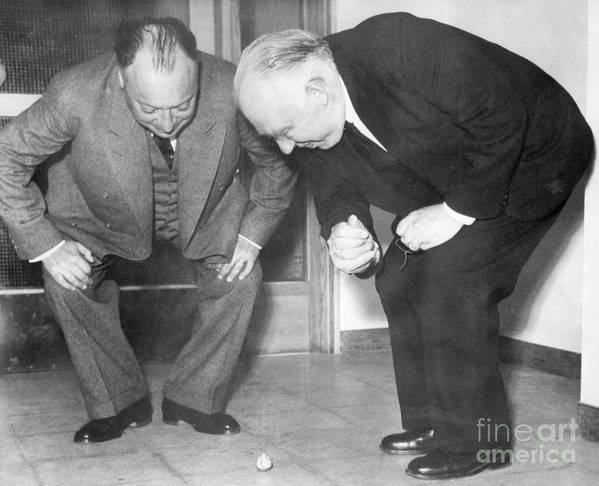1900s Print featuring the photograph Wolfgang Pauli And Niels Bohr by Margrethe Bohr Collection and AIP and Photo Researchers