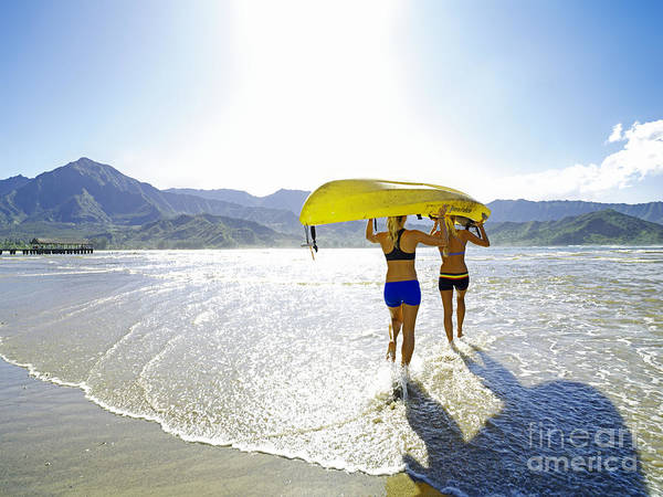 Active Print featuring the photograph Women Kayakers by Kicka Witte - Printscapes