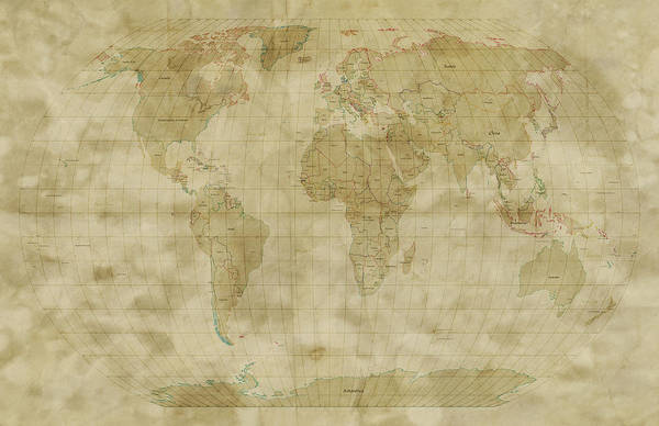 Map Of The World Print featuring the digital art World Map Antique Style by Michael Tompsett