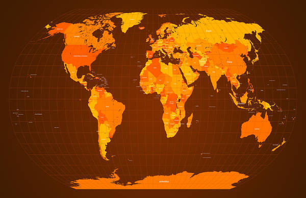 Map Of The World Print featuring the digital art World Map Fall Colours by Michael Tompsett