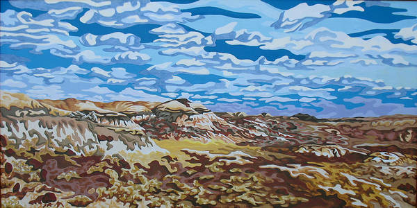 Abstracted Realism Print featuring the painting Wyoming Afternoon by Dale Beckman
