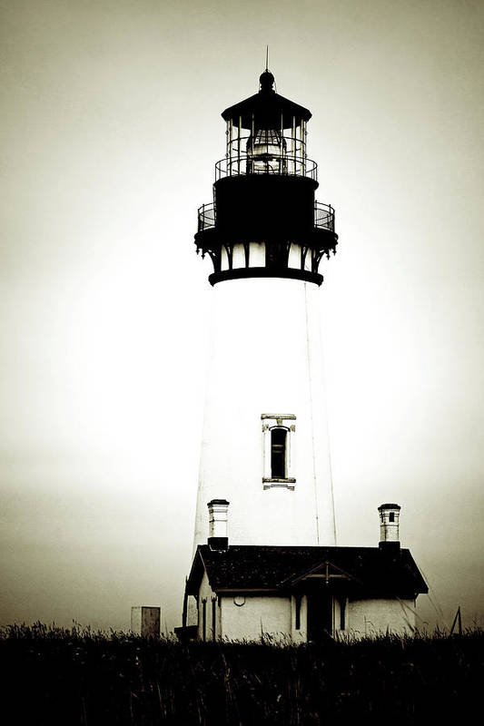 Yaquina Head Lighthouse Print featuring the photograph Yaquina Head Light - Haunted Oregon Lighthouse by Christine Till