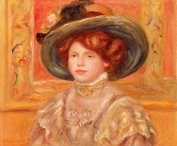 Young Print featuring the painting Young Woman In A Blue Hat by Pierre Auguste Renoir