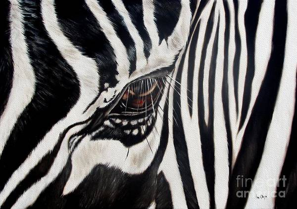 Zebra Print featuring the painting Zebra Eye by Ilse Kleyn