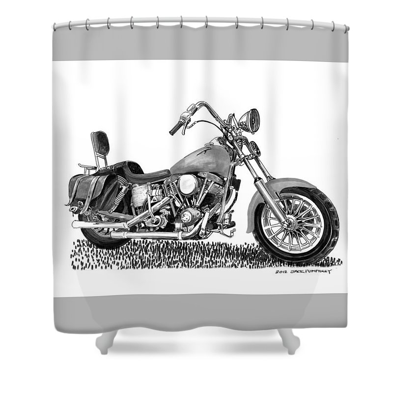 1971 Harley Davidson S O A Shovel Head F L Shower Curtain For Sale By Jack Pumphrey