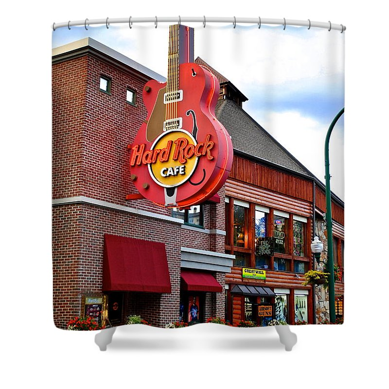Hard Shower Curtain featuring the photograph Gatlinburg Hard Rock Cafe by Frozen in Time Fine Art Photography