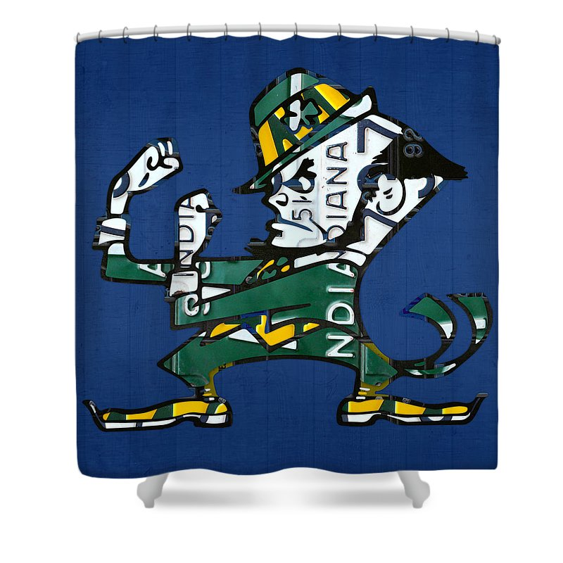 Notre Dame Fighting Irish Leprechaun Vintage Indiana License Plate Art Shower Curtain For Sale