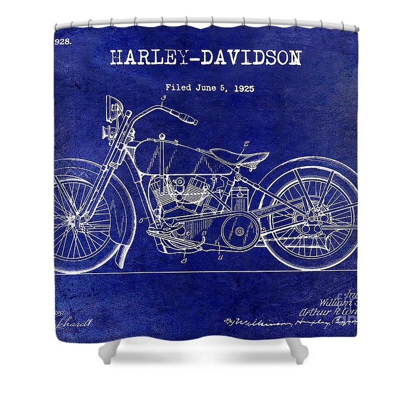 1928 Harley Davidson Patent Drawing Blue Shower Curtain For Sale By Jon Neidert
