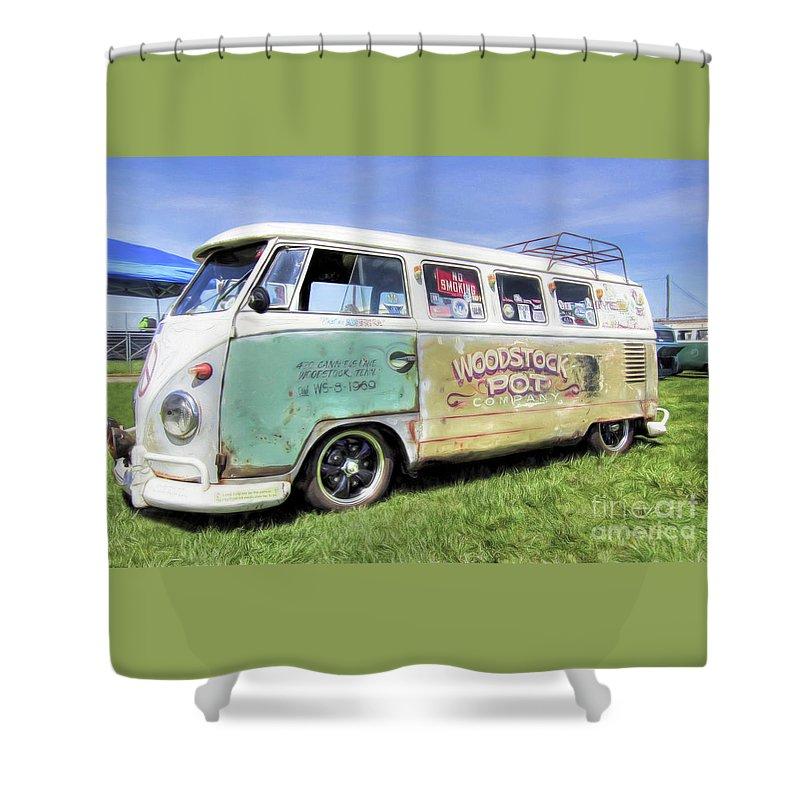 1959 Vw Split Window Bus Shower Curtain For Sale By