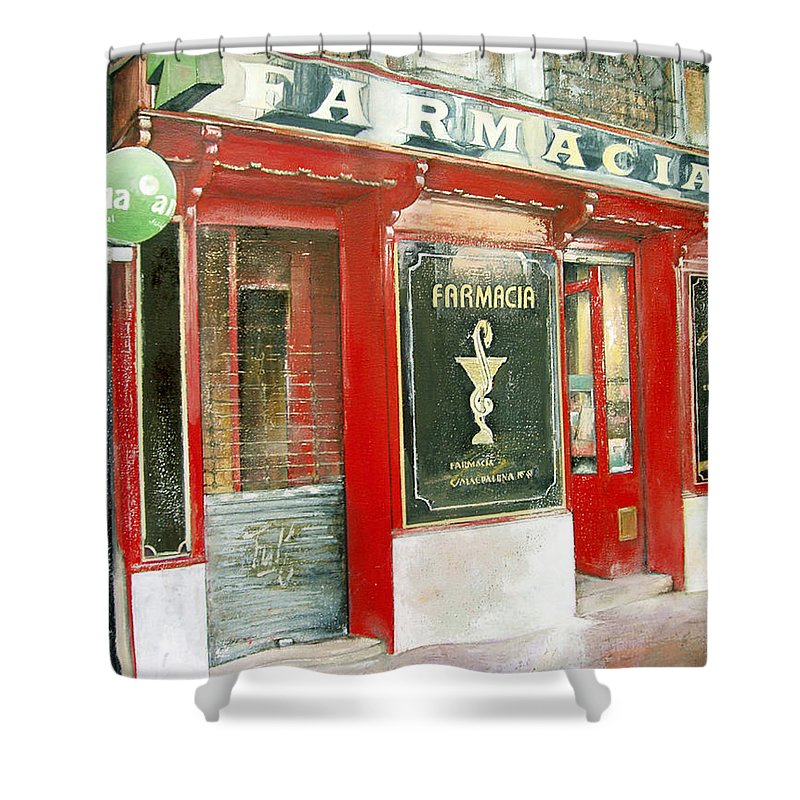 Farmacia Shower Curtain featuring the painting Old Pharmacy by Tomas Castano