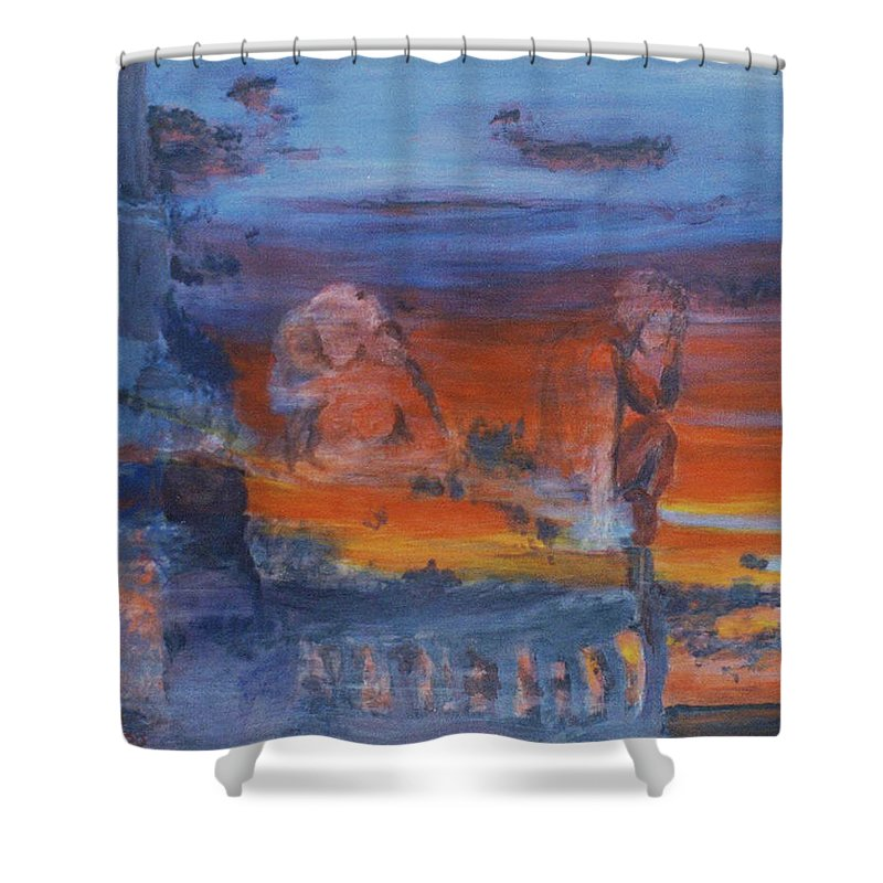 Abstract Shower Curtain featuring the painting A Mystery Of Gods by Steve Karol