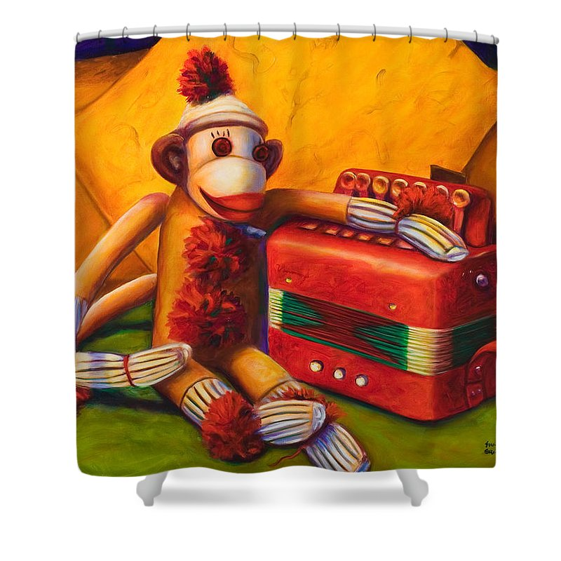 Children Shower Curtain featuring the painting Accordion by Shannon Grissom