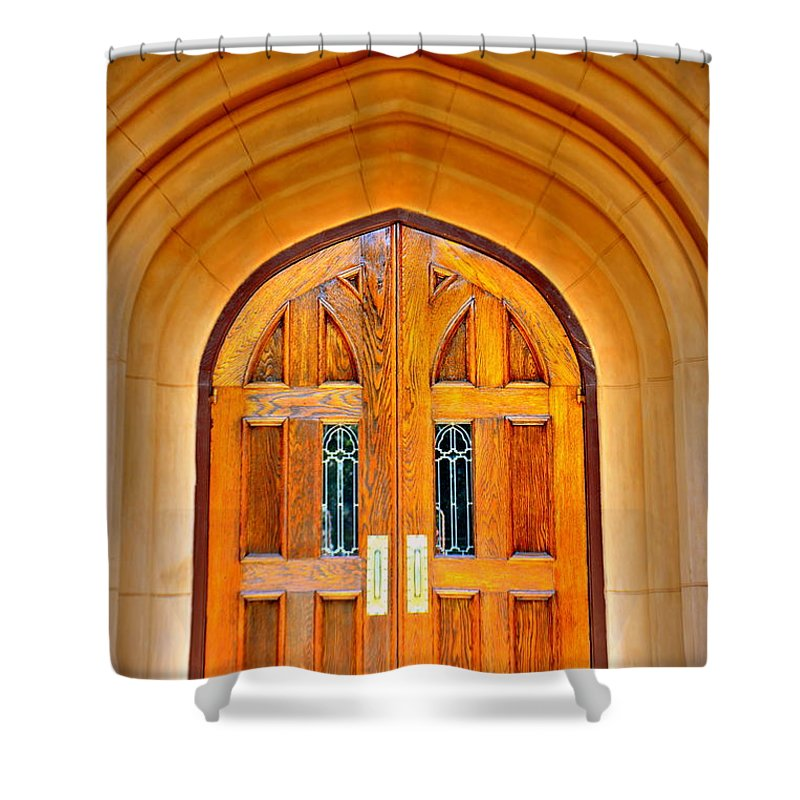 Arched Doorway Trinity Episcopal Cathedral Columbia Sc Shower Curtain For Sale By Lisa Wooten