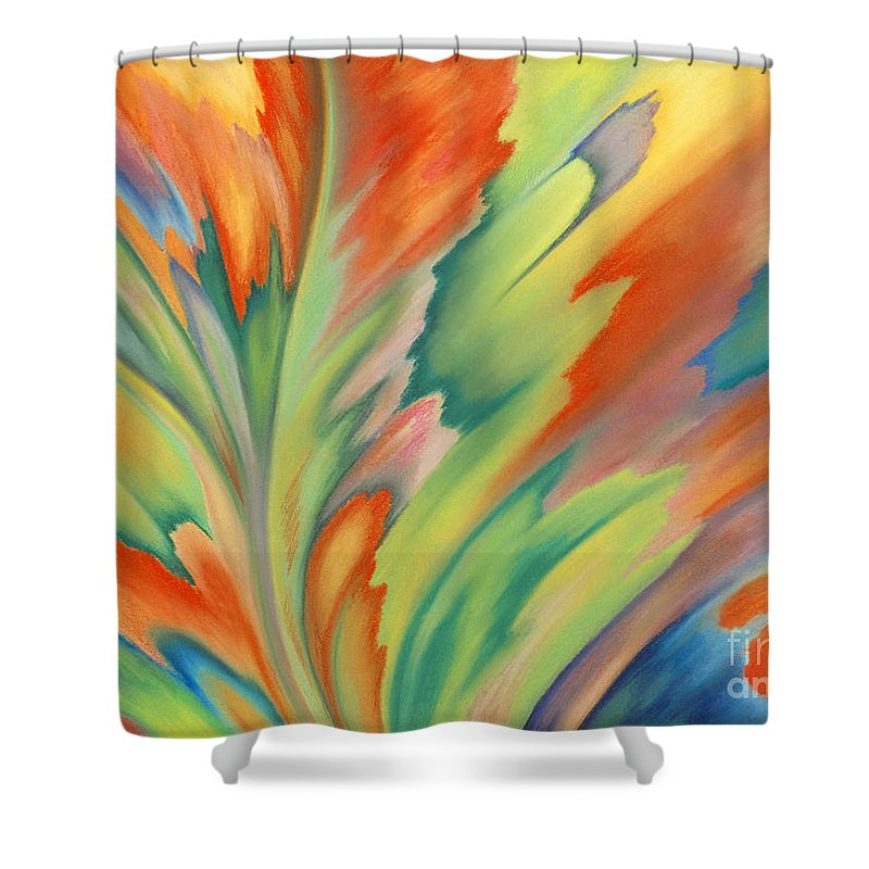 Abstract Shower Curtain featuring the painting Autumn Flame by Lucy Arnold