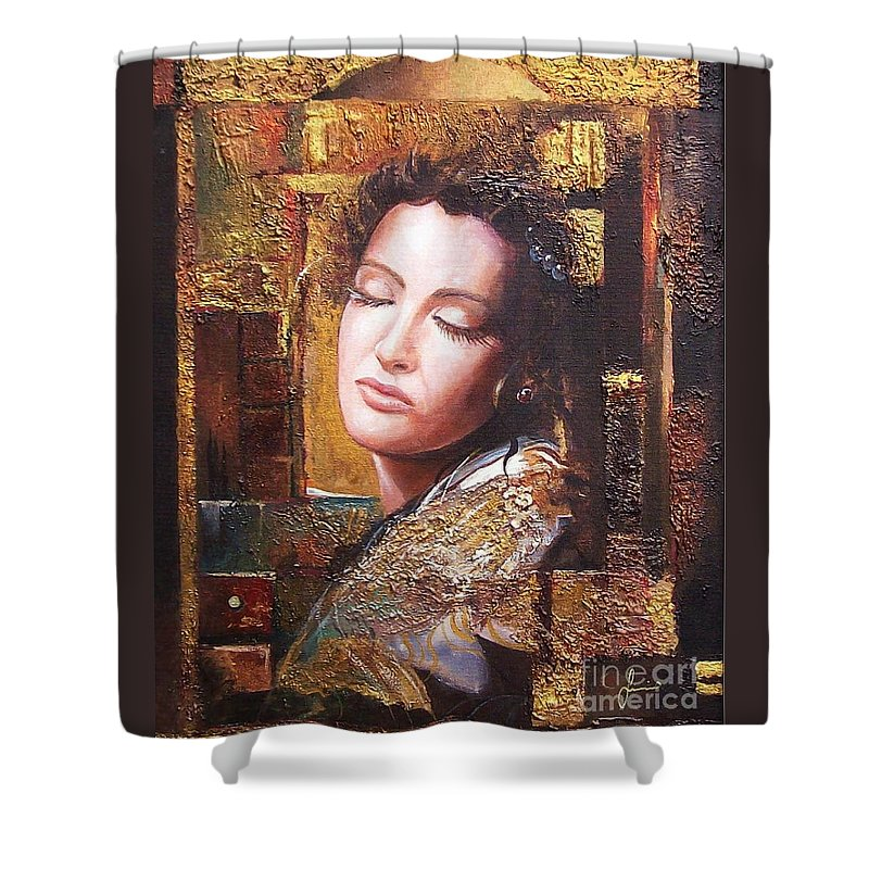 Female Portrait Shower Curtain featuring the painting Because You Are Beautiful by Sinisa Saratlic