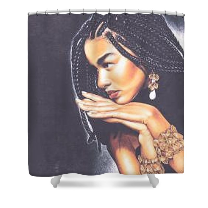 Woman W/folded Hands Shower Curtain featuring the drawing Braided Beauty by Charlene Cooper