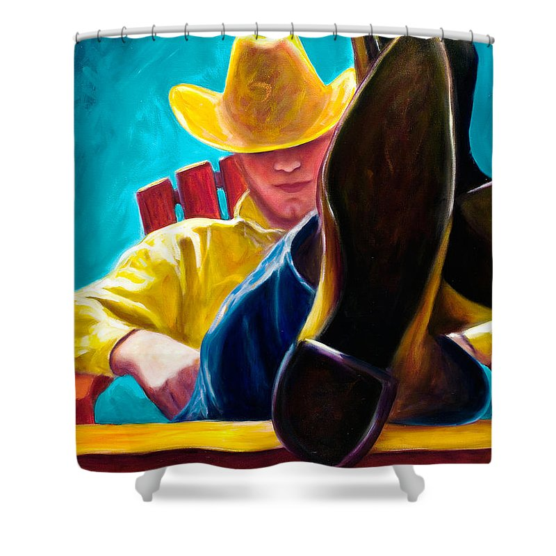 Western Shower Curtain featuring the painting Break Time by Shannon Grissom