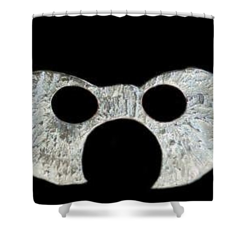 A Wearable Mardi Gras Carnival Or Costume Mask With A Leather Covered Holding Stick Shower Curtain featuring the sculpture Carnival Series by Robert aka Bobby Ray Howle