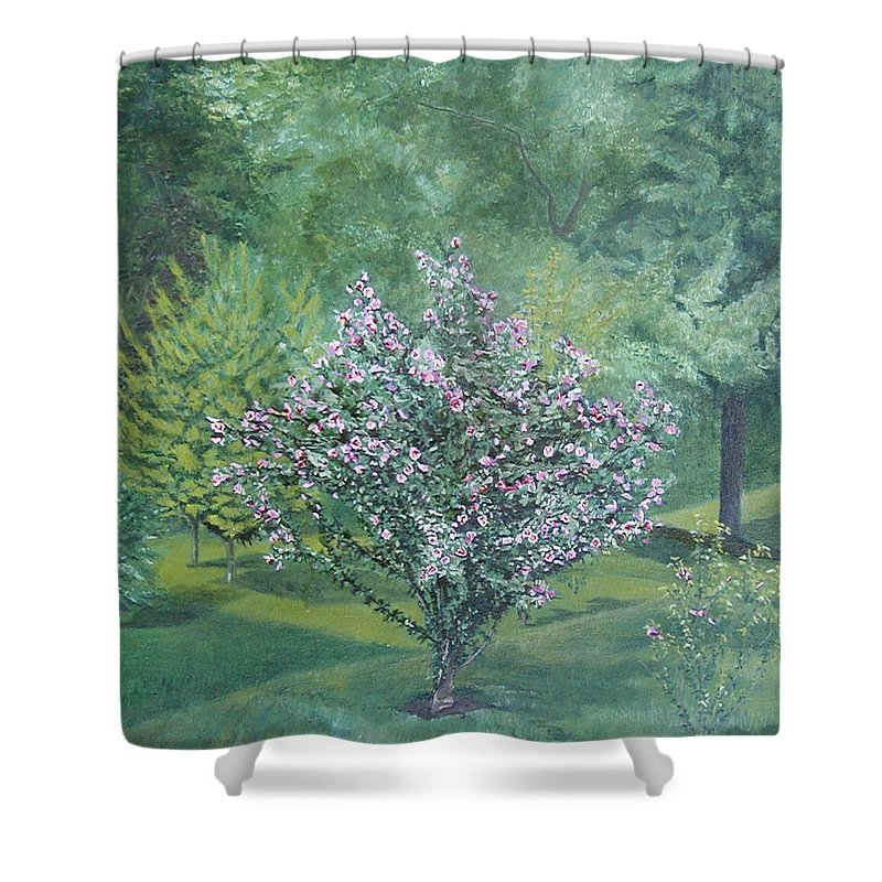 Blooming Shower Curtain featuring the painting Charles Street by Leah Tomaino