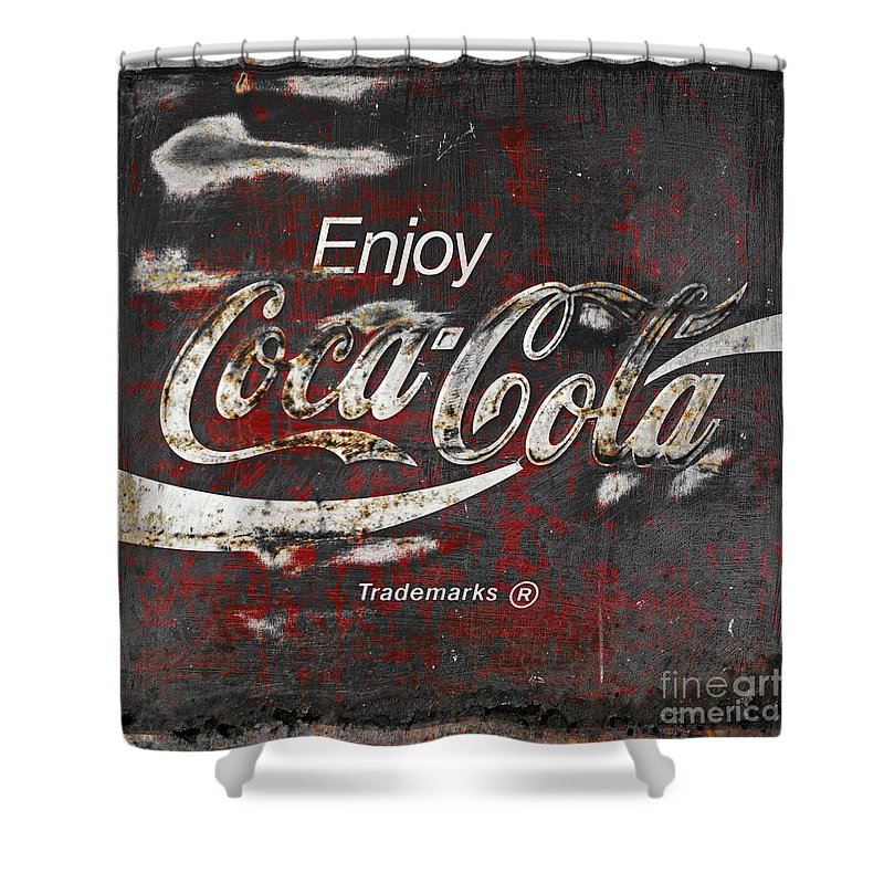 Coca cola grunge sign shower curtain for sale by john stephens - Bathroom coca cola shower curtain ...