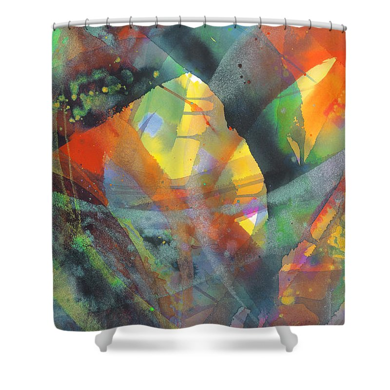 Abstract Shower Curtain featuring the painting Connections by Lucy Arnold