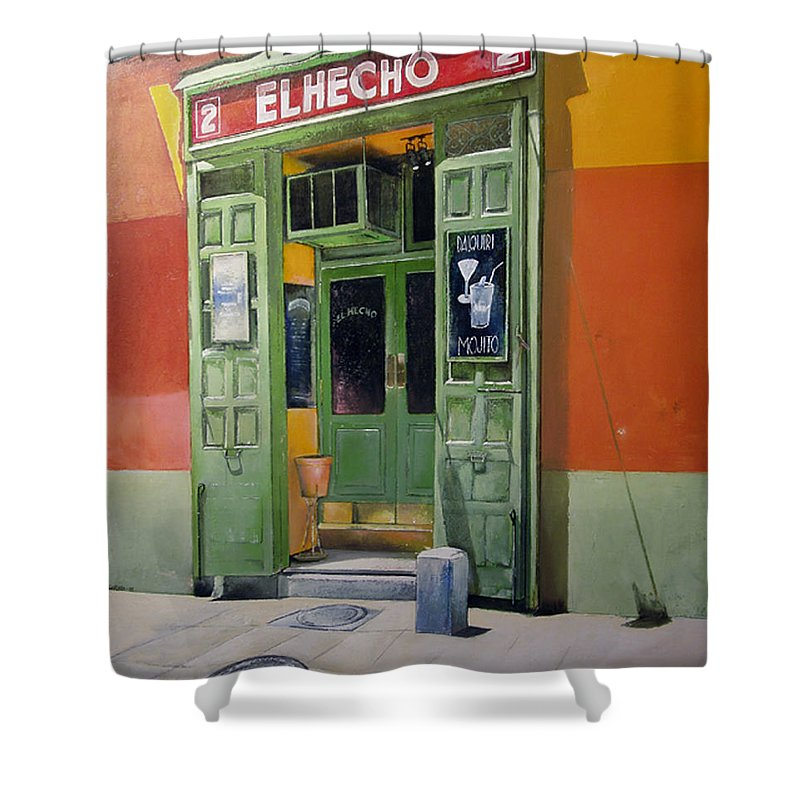 Hecho Shower Curtain featuring the painting El Hecho Pub by Tomas Castano