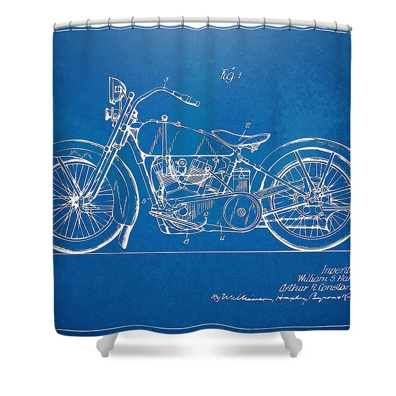 Harley Davidson Motorcycle 1928 Patent Artwork Shower Curtain For Sale By Nikki Marie Smith