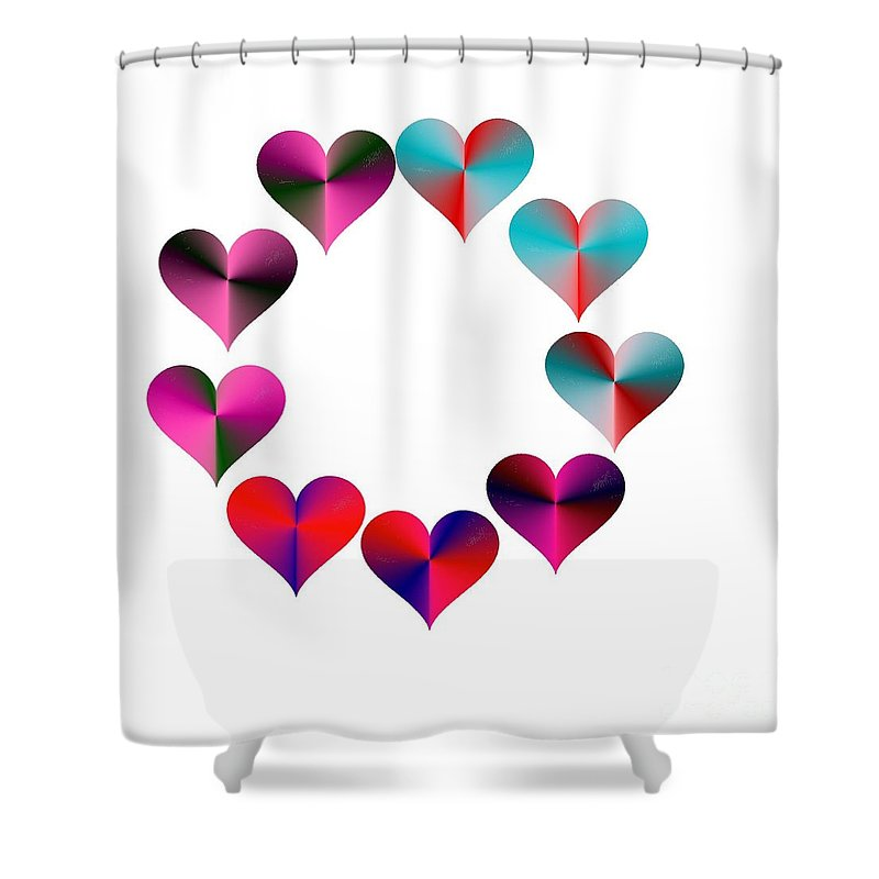 I Heart Rainbows Shower Curtain featuring the digital art I Heart Rainbows by Michael Skinner