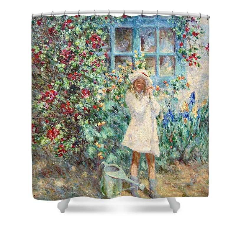Little Girl With Roses Shower Curtain For Sale By Pierre Van Dijk