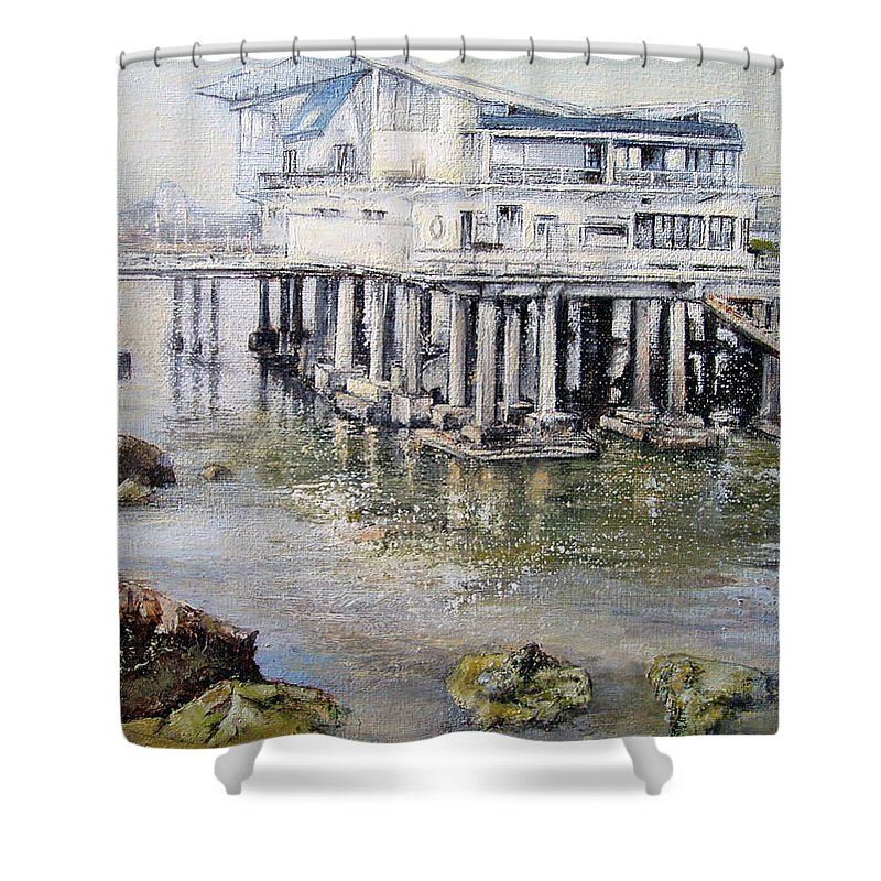 Maritim Shower Curtain featuring the painting Maritim Club Castro Urdiales by Tomas Castano