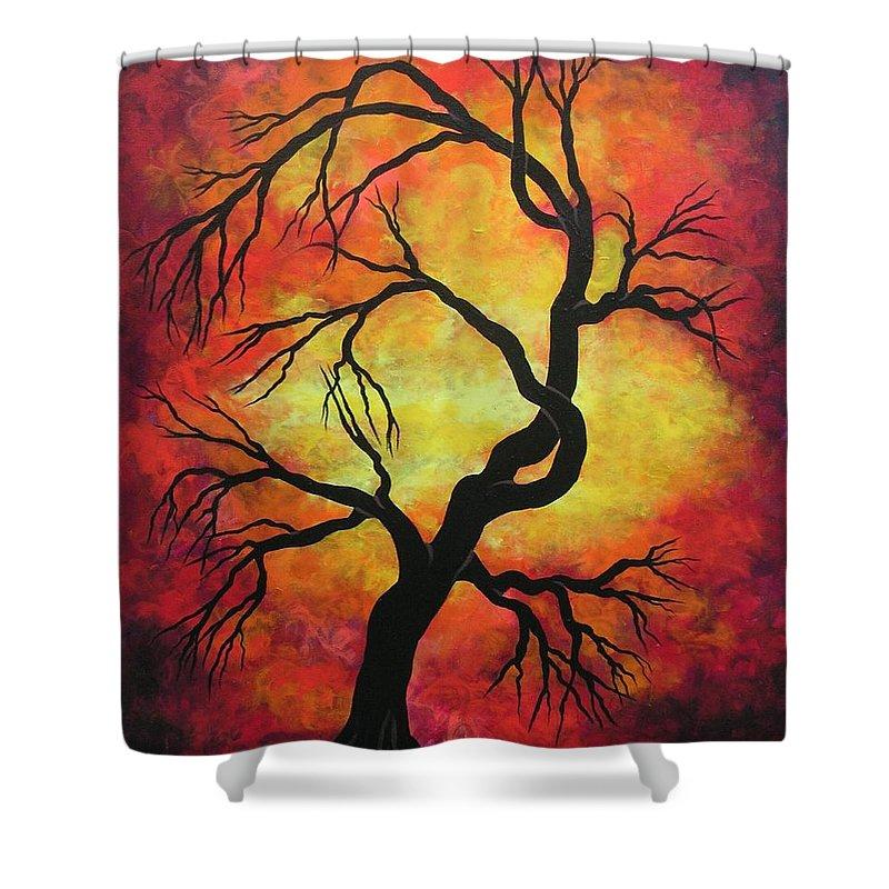 Acrylic Shower Curtain featuring the painting Mystic Firestorm by Jordanka Yaretz