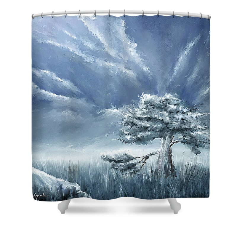 Navy Blue And Gray Shower Curtain For Sale By Lourry Legarde