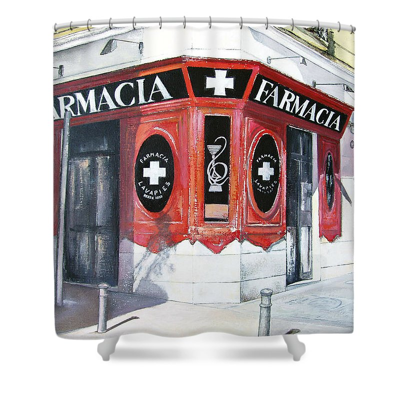 Pharmacy Shower Curtain featuring the painting Old Pharmacy by Tomas Castano