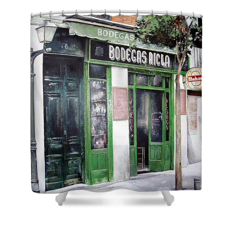 Bodegas Shower Curtain featuring the painting Old Tavern-madrid by Tomas Castano