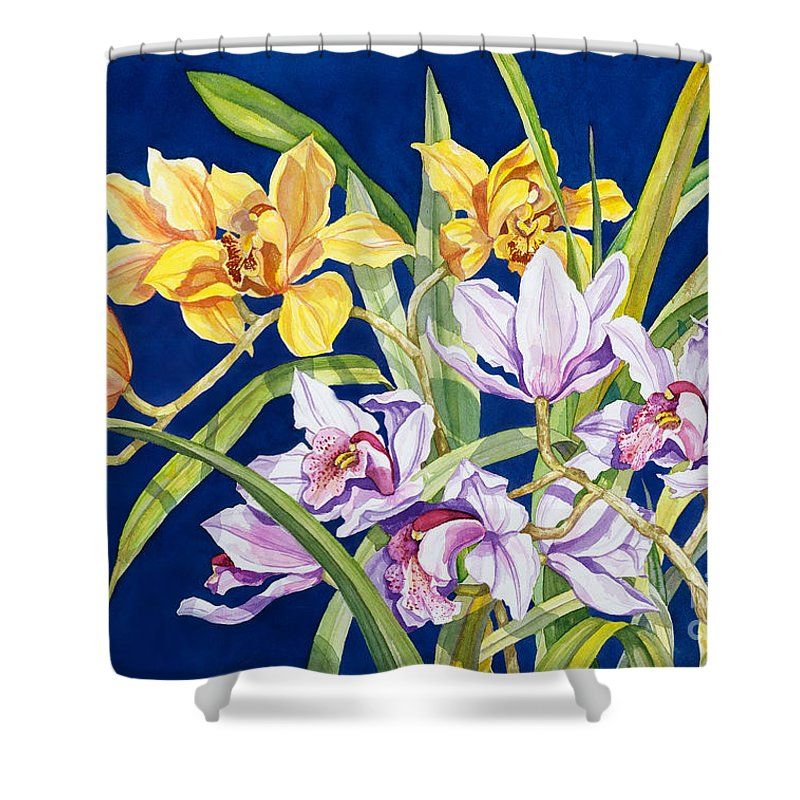 Orchids Shower Curtain featuring the painting Orchids In Blue by Lucy Arnold