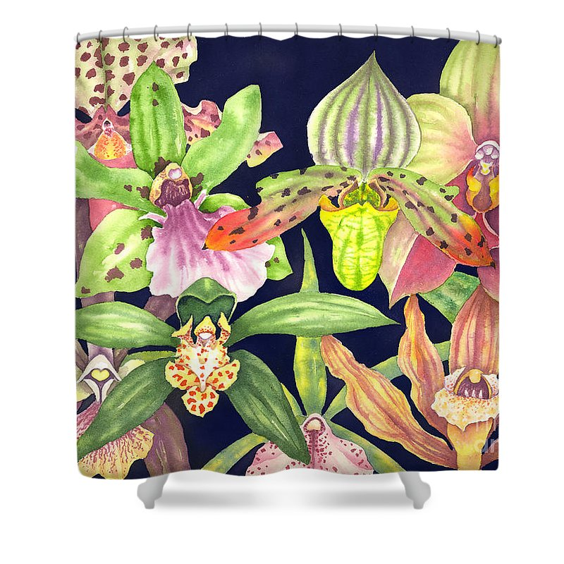 Orchids Shower Curtain featuring the painting Orchids by Lucy Arnold