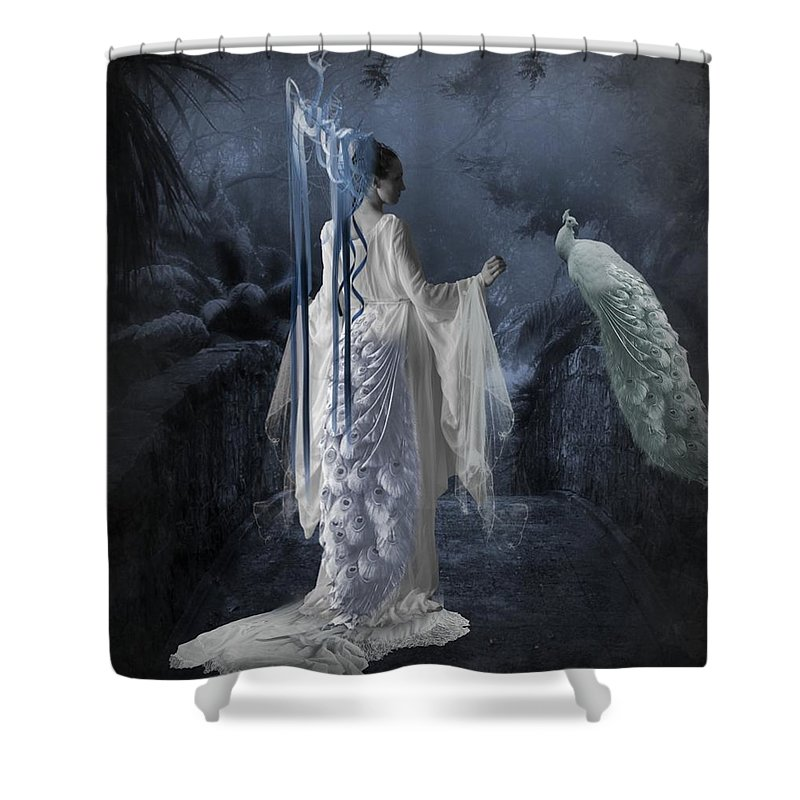 Peacock lady shower curtain for sale by ali oppy for Fantasy shower curtains