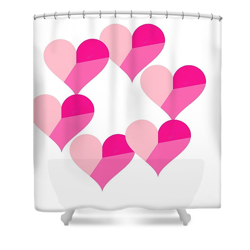 Pink Candy Hearts Shower Curtain featuring the digital art Pink Candy Hearts by Michael Skinner