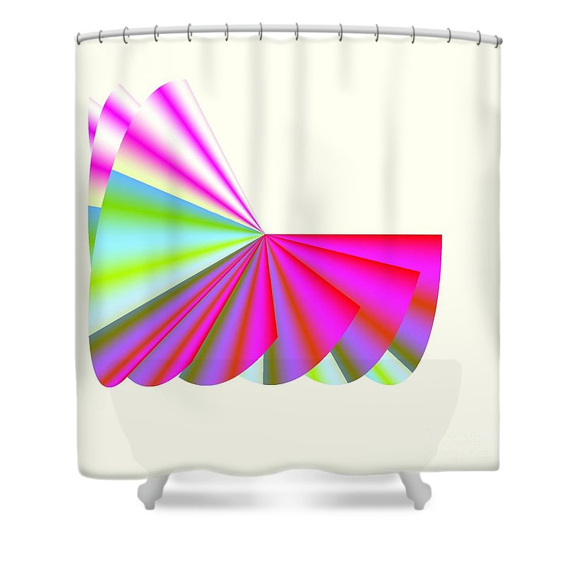 Pink Ruffles Shower Curtain featuring the digital art Pink Poodle Skirt Ruffles by Michael Skinner