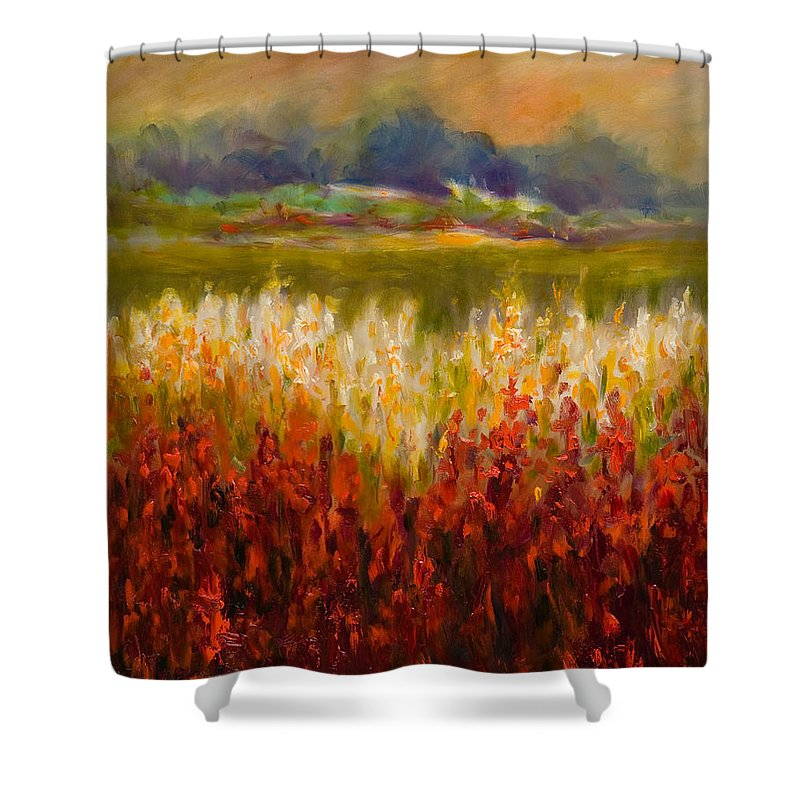Landscape Shower Curtain featuring the painting Santa Rosa Valley by Shannon Grissom