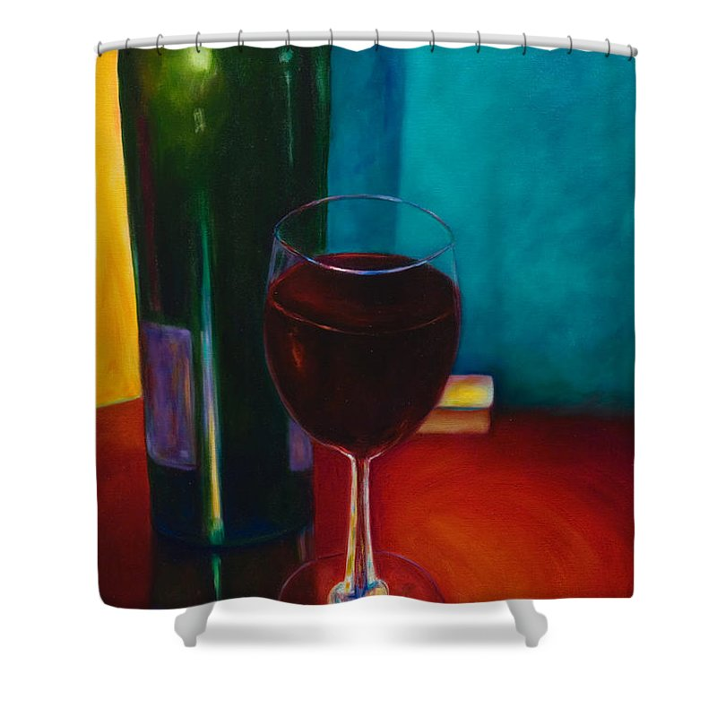 Wine Bottle Shower Curtain featuring the painting Shannon's Red by Shannon Grissom