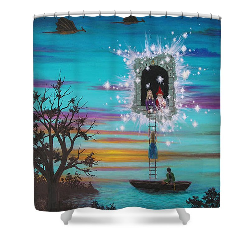 Fantasy Shower Curtain featuring the painting Sky Window by Roz Eve