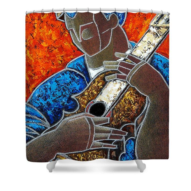 Puerto Rico Shower Curtain featuring the painting Solo De Cuatro by Oscar Ortiz