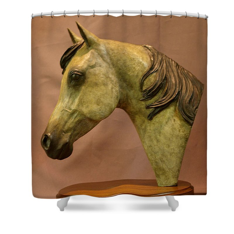 Bronze Shower Curtain featuring the sculpture Stardust by Kim Corpany