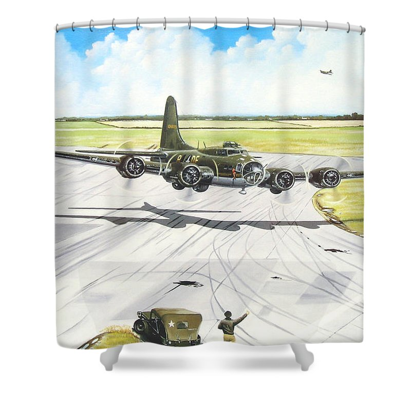 Military Shower Curtain featuring the painting The Memphis Belle by Marc Stewart
