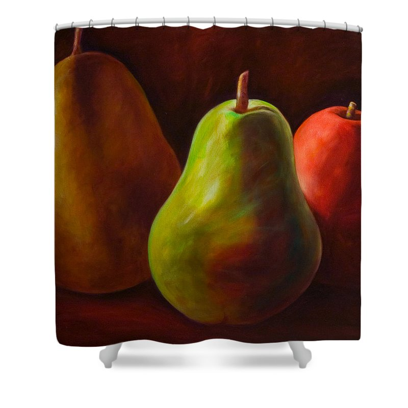 Fruit Shower Curtain featuring the painting Tri Pear by Shannon Grissom