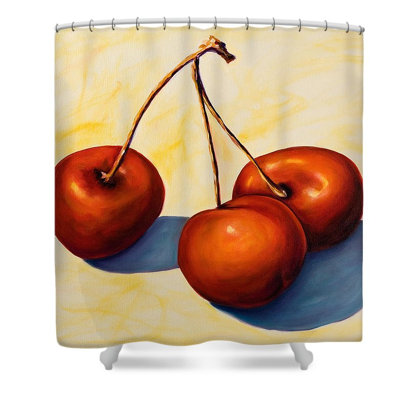Cherries Shower Curtain featuring the painting Trilogy by Shannon Grissom